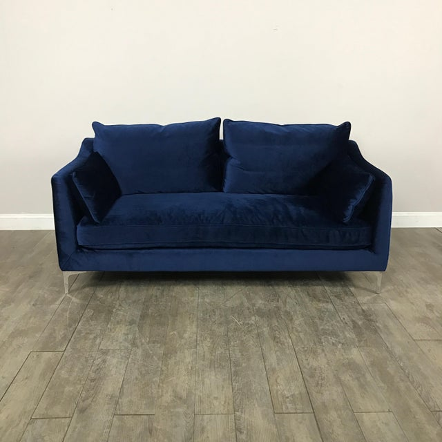 Royal Blue Velvet Sofa - Image 2 of 11