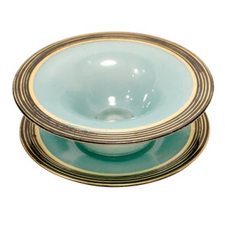 Vintage Teal Punch Bowl