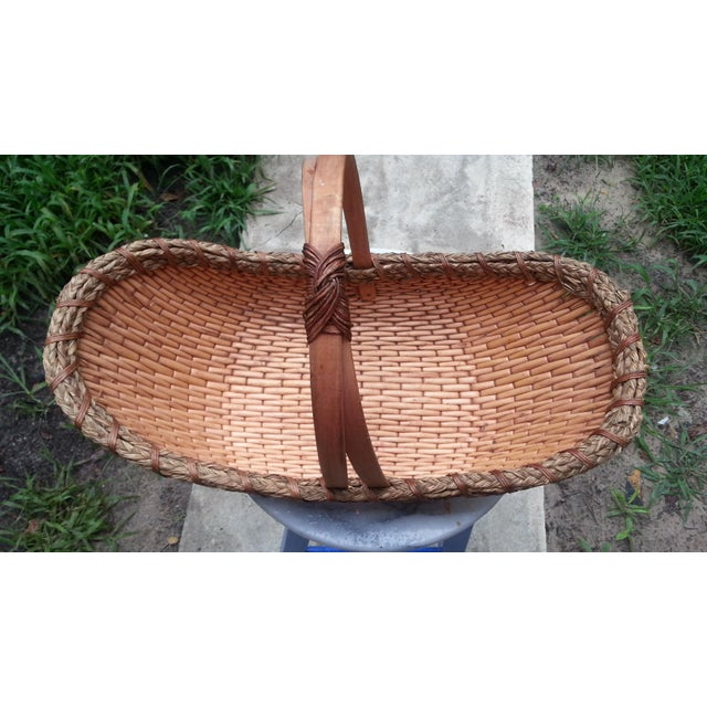 Vintage Rattan Gathering Basket - Image 3 of 5