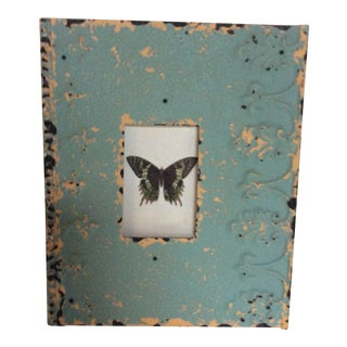 Butterfly Print Framed in Painted Tin Fragment