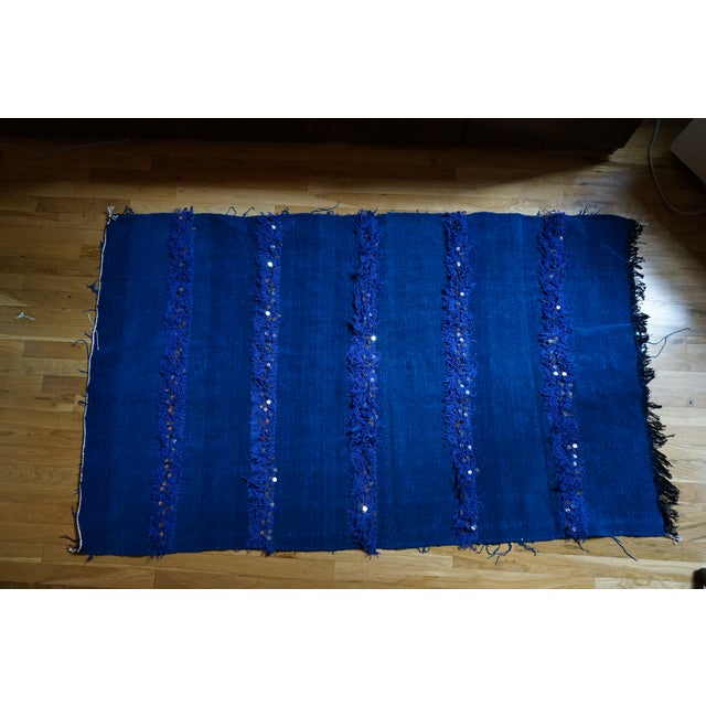 Handmade Blue Moroccan Rug - 3′6″ × 5′9″ - Image 2 of 4