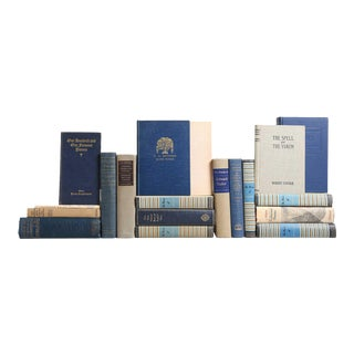 Vintage Poetry Books in Blue & Tan, S/20