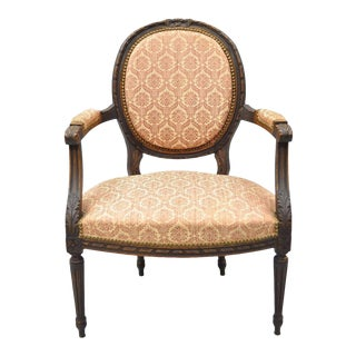 Antique French Louis XVI Style Bow Carved Walnut Fauteuil Fireside Arm Chair