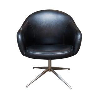 Vintage Baumritter Swivel Chair in Black Naugahyde
