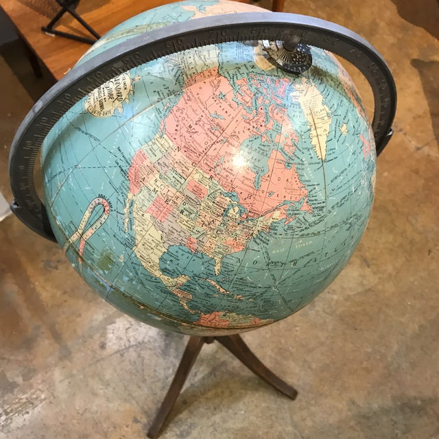 Vintage Globe on Wooden Pedestal - Image 3 of 5