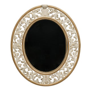 Italian Oval White Reticulated Framed Wall Mirror