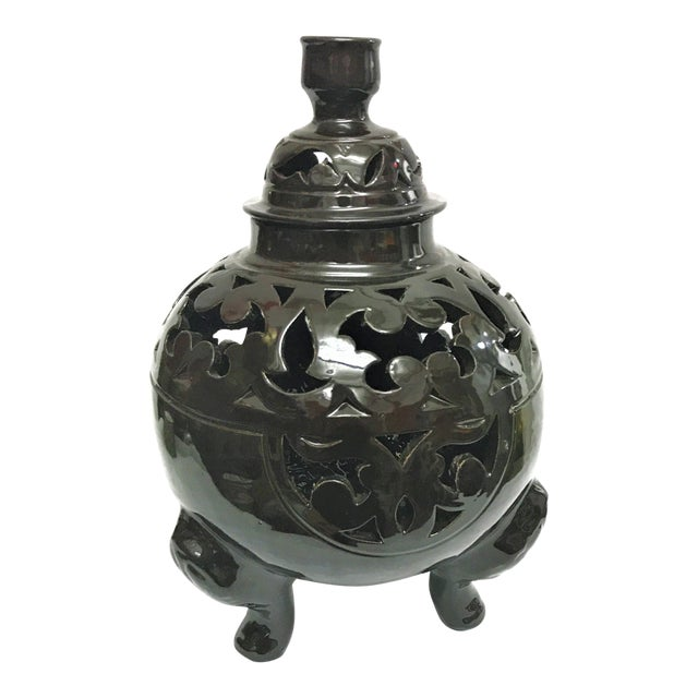 Image of Moroccan Black Handcrafted Ceramic Vase with Lid