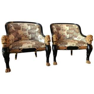 Lion Head Rest Ebonized Hollywood Regency Armchairs - A Pair