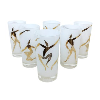 1960's White & Gold Stylized Dancers Collins Glasses - Set of 6