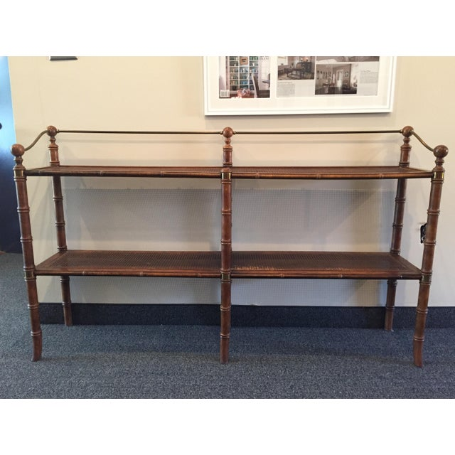 Image of Faux Bamboo Framed Console With Cane Shelves
