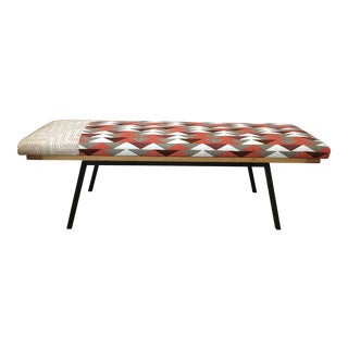 Upholstered Metal & Wood Framed Bench