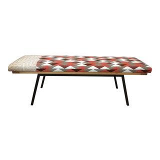 Upholstered Metal & Wood Framed Bench