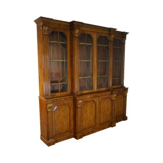 Monumental Custom English Yew Wood Georgian Style Breakfront Bookcase
