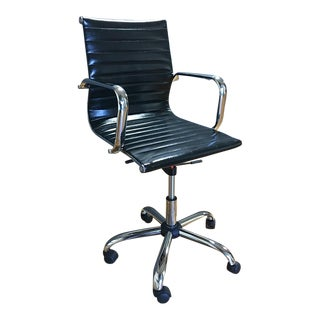 Pleated Faux Leather & Chrome Office Chair
