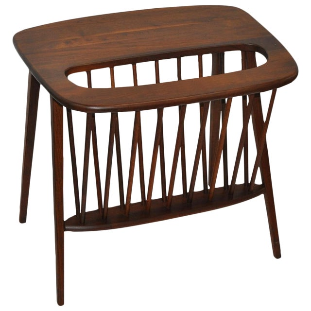 Arthur Umanoff Walnut Side Table & Magazine Rack - Image 1 of 4