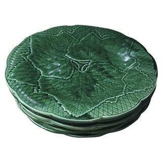 Antique French Gien Green Majolica Leaf Plates - 6