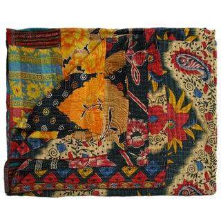 Vintage Bold Floral Kantha Quilt
