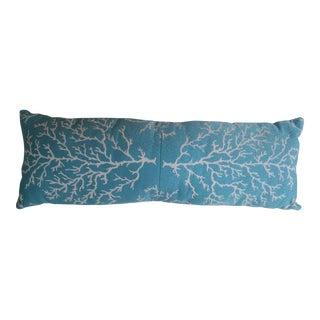 Aqua & White Coral Jacqard Lumbar Pillow