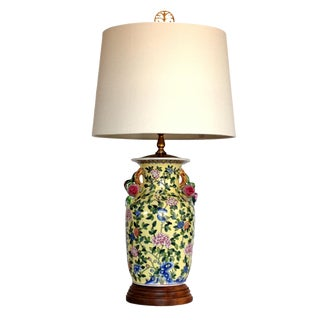 Vintage Fruit Handled Ceramic Lamp W/Shade