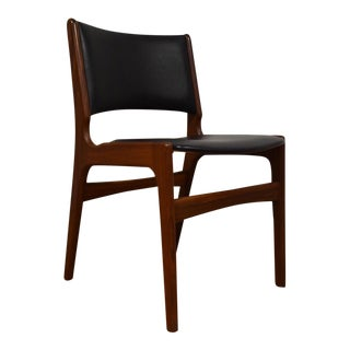 Erik Buch Teak and Black Vinyl Desk Chair
