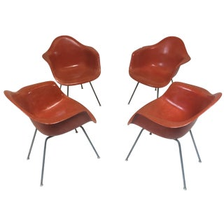 Eames Orange Shell Chairs - Set of 4