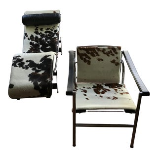 Corbusier Cow Hide Chaise & Sling Chair