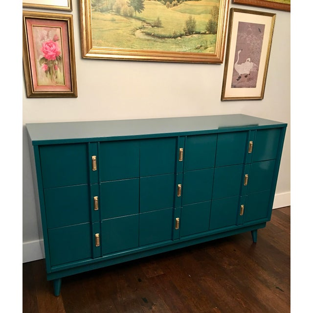 Mid Century Glossy Teal Finish Dresser   Image 4 of 7. Mid Century Glossy Teal Finish Dresser   Chairish