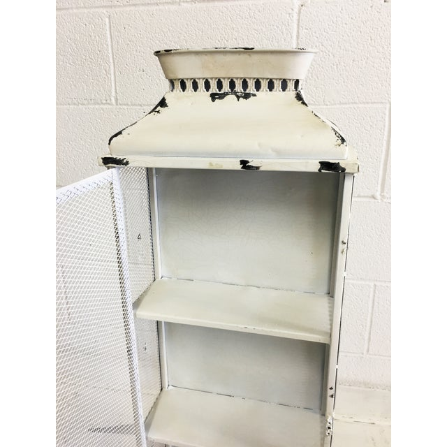 Shabby Chic White Metal Cabinet - Image 6 of 6