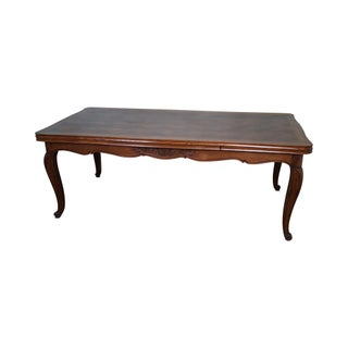 Vintage French Louis XV Walnut Parquet Top Refractory Dining Table