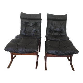 Vintage Siesta High Back Chairs & Ottomans by Westnofa - A Pair