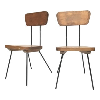 Luther Conover Style Steel Frame Side Chairs - A Pair
