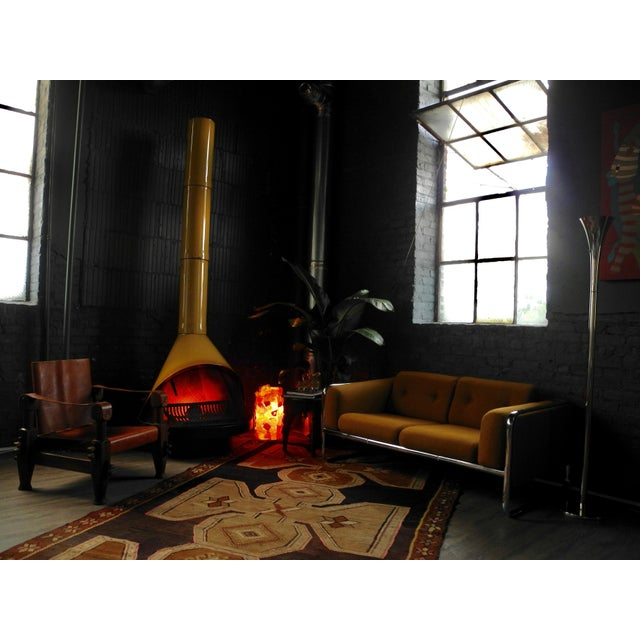Mid-Century Indoor/Outdoor Preway Yellow Enamel Fireplace - Image 3 of 8