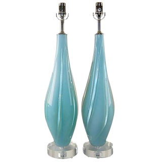Blue Opaline Murano Lamps by Seguso