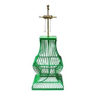 Birdcage Form Lamp in Kelly Green