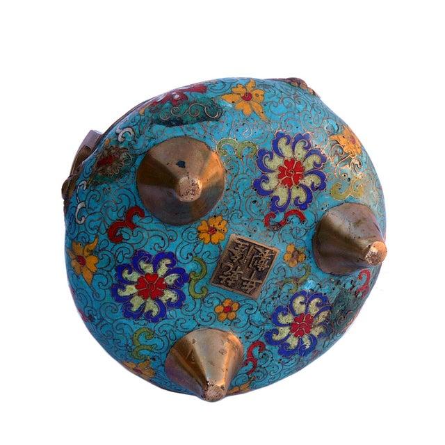 Bronze Turquoise Cloisonne Tri-Leg Incense Burner - Image 4 of 5