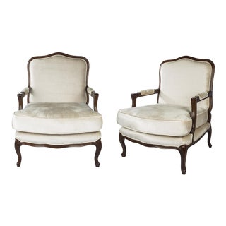 Louis XV Style Walnut Armchairs - a Pair