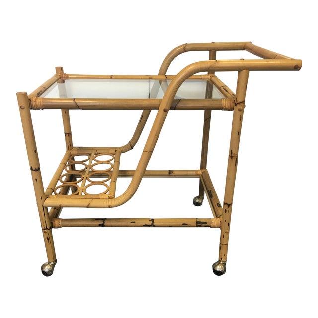 Vintage Bamboo & Rattan Bar Cart - Image 1 of 6