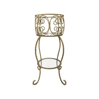 Hollywood Regency Gilt Metal Rope 2 Tier Stand