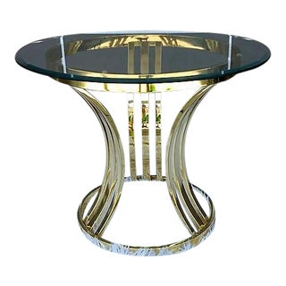 Round Brass & Glass Side Table