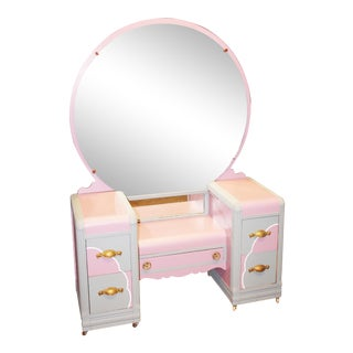 Vintage Shabby Pink Wood Vanity With Mirror