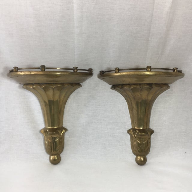 Image of Brass Florentine Wall Sconce Shelf - A Pair