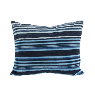 Indigo Striped Mudcloth Pillow