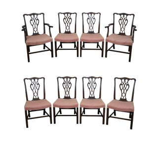 Chippendale Style Solid Mahogany Dining Chairs - Set of 8