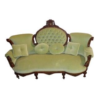 Green Velvet Edwardian Sofa
