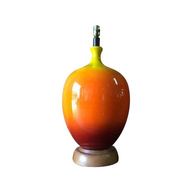 Image of Mid-Century Orange Pottery Art Lamp