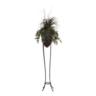 Faux Bamboo & Silk Plant Stand