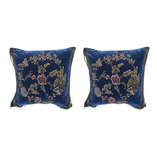 19th C. Embroidered & Appliqued Pillows - A Pair