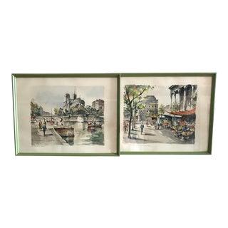 Mid-Century Prints of Paris - A Pair