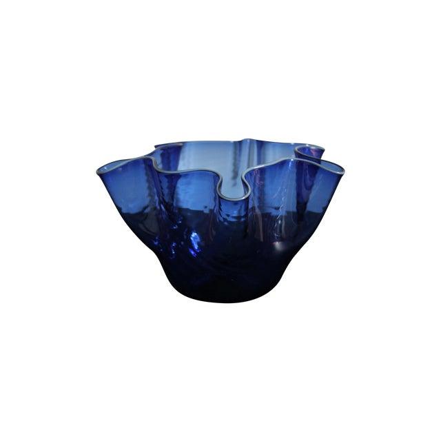 Image of Wavy Handblown Cobalt Blue Glass Bowl