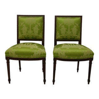 Antique French Louis XVI Style Side Chairs - A Pair